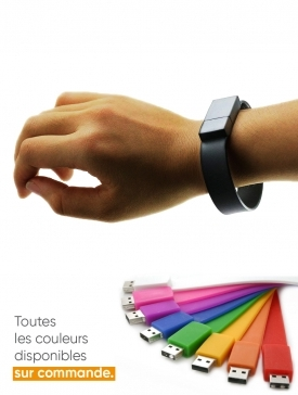 Bracelet USB Silicone Noir
